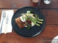 Crispy Potato Hash with Parsnip Puree, Grilled Asparagus, Kale Chips and a Poached Egg