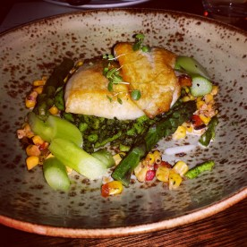 Lakes Entrance Dory fillets, new season asparagus, soft herb spätzle, charred corn salsa