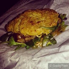 "Ramen Burger - Ramen noodle patty ""buns"",miso glazed eggplant"