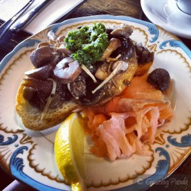 Mixed Mushrooms on Grilled Sourdough with Parsley Purree and Salmon