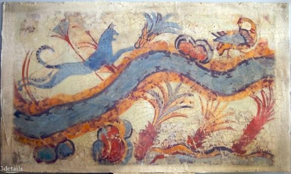 Cat Hunting Ducks Akrotiri, Santorini before 1628BC, Minoan cat history