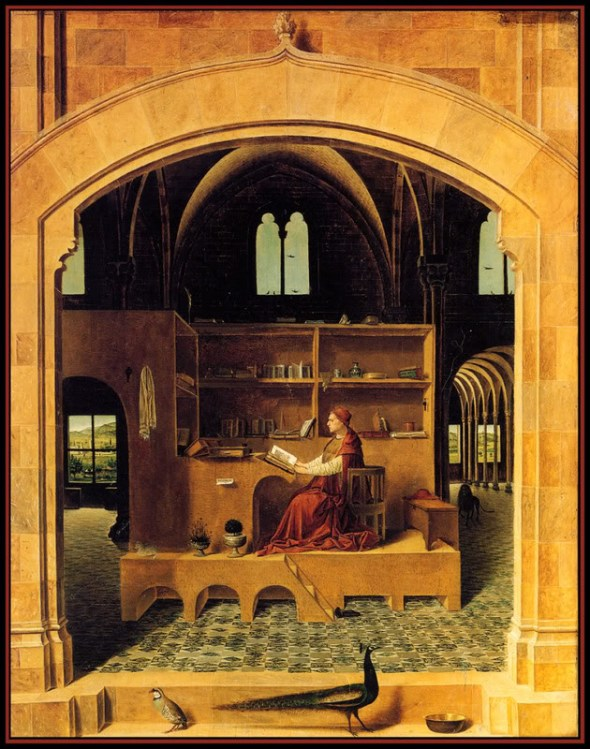 St Jerome in his Study, 1475 Antonello da Messina National Gallery London, cats and saints