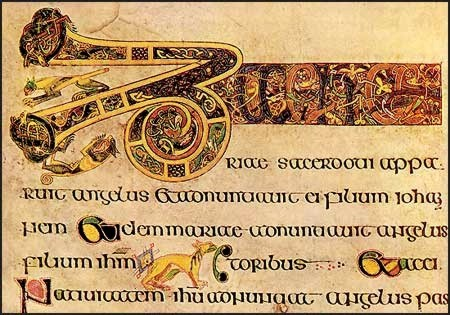 kells cats in the lines of the manuscript Folio19 Breves causae of Luke, Cats in Lindesfarne Gospel and Book of Kells