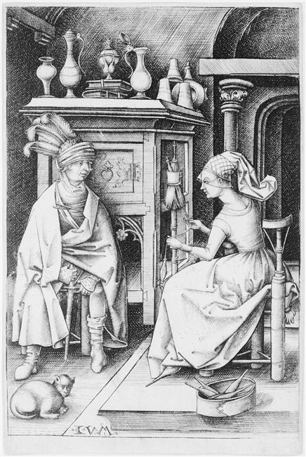 The Spinner and the Visitor 15th Century Israhel Van Meckenem, history of the cat