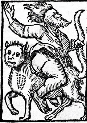 Riding a Cat Backwards Woodblock print, cats and witchcraft
