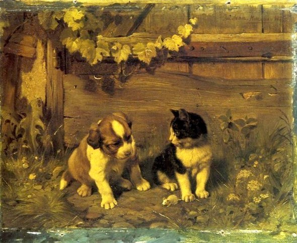 Kitten and Puppy Julius Adam II Private Collection kittens in art
