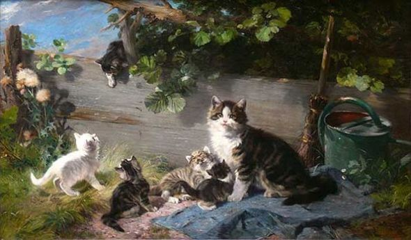 Mother Cat with Five Kittens Julius Adam II Private Collection