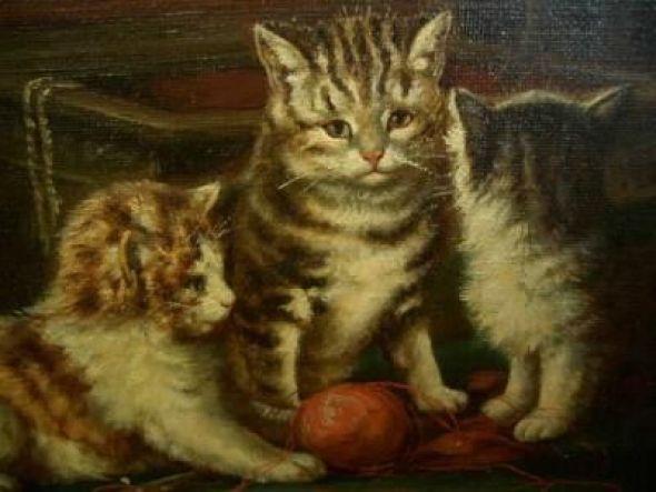 Three Kittens with Ball Julius Adam II