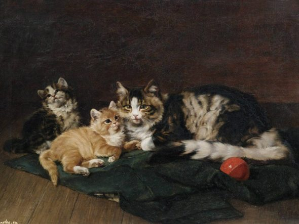 Kittens with Ball of String Julius Adam Private Collection