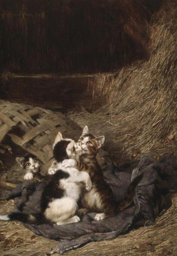 Kittens in the Hay Julius Adam II Private Collection