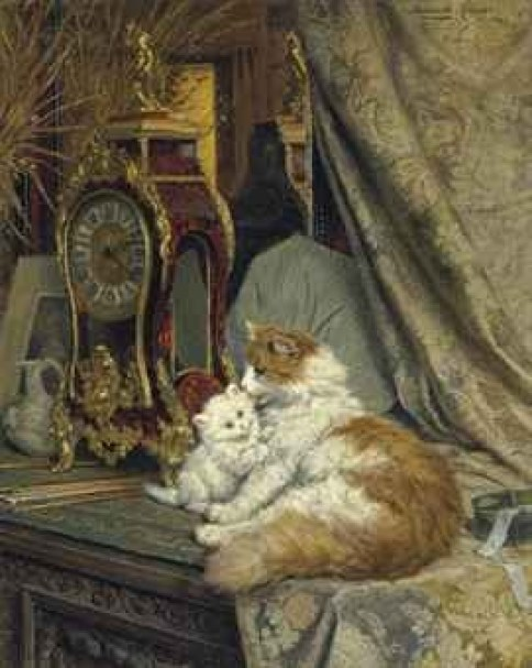 A Mother Cat and her Kitten with a Bracket Clock Henriette Ronner-Knip Oil on Canvas Private Collection