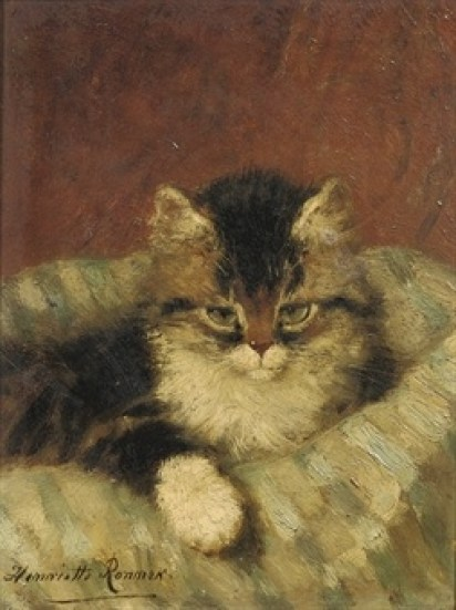 A Kitten on a Blue Striped Pillow Henriette Ronner-Knip Private Collection