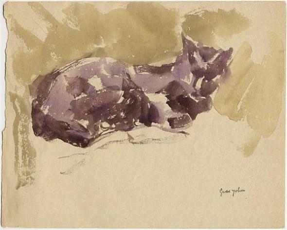 Black Cat Sleeping Gwen John Watercolor