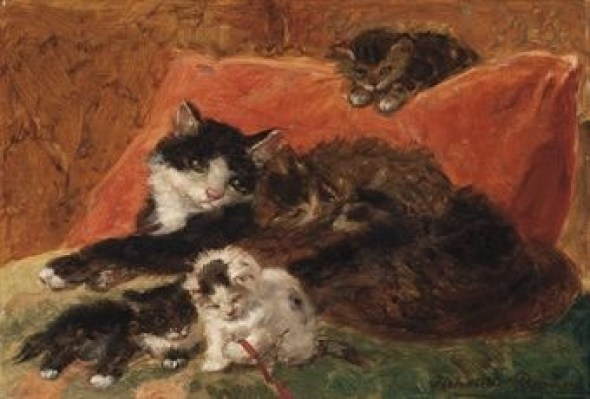 Cat and Kittens Henriette Ronner-Knip Oil on Panel Private Collection