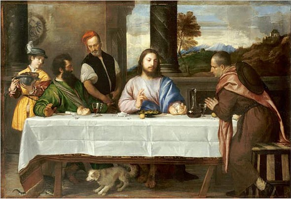 Supper at Emmaus Titian 1533, cat in Mannerist and religious paintings