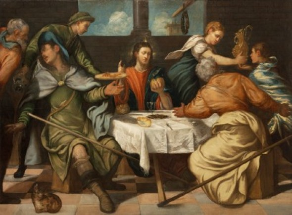 Supper at Emmaus Tintoretto 1543, cat in Mannerist and religious paintings