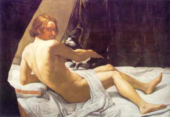 Cats in Baroque Paintings, Naked Man Playing with a Cat in Bed Giovanni Ian Franco 1620 Commerce d'Art, London