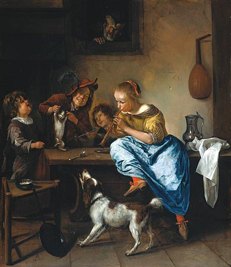 The Dancing Lesson Jan Steen 1665-1668, cats in art