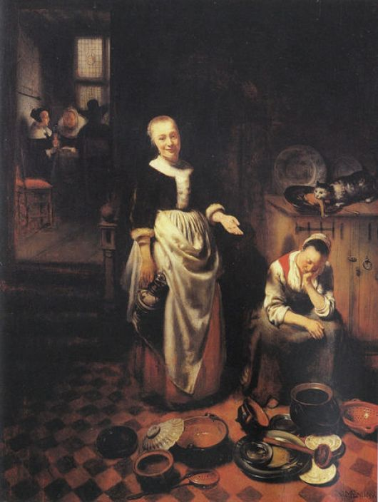 The Idle Servant with cat Nicolaes Maes (1634-1693), cats in art
