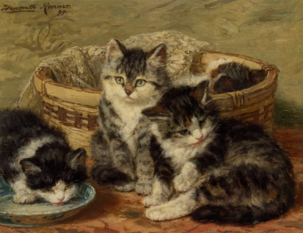 Four Kittens Henriette Ronner-Knip Oil on Panel Private Collection