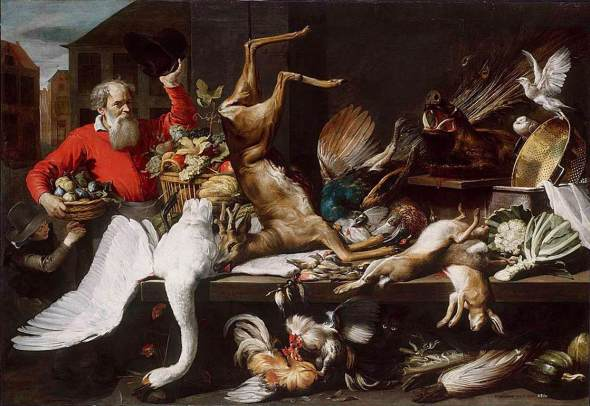 Still Life with Dead Game, Fruits and Vegetables in a Market 1614 Wikipedia Commons