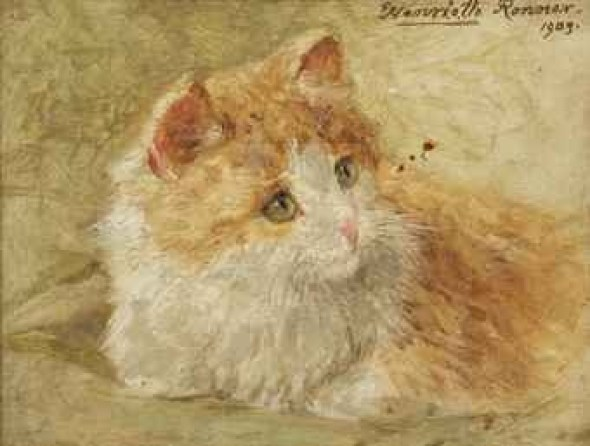 Ginger and White Henriette Ronner-Knip Oil on Panel Private Collection