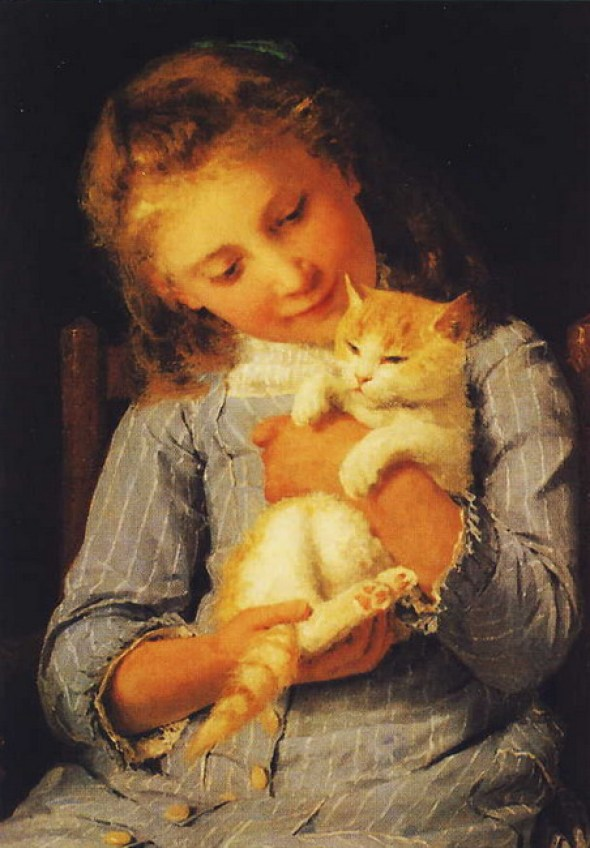 Girl Holding a Cat Albert Anker 1881 Private Collection