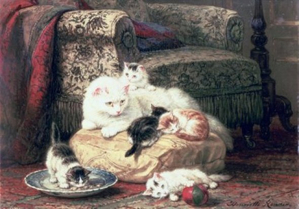 Cat with Her Kittens on a Cushion Henriette Ronner-Knip Private Collection