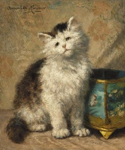Kitten by a Cloisonne Jardinere Henriette Ronner-Knip Oil on Panel Private Collection