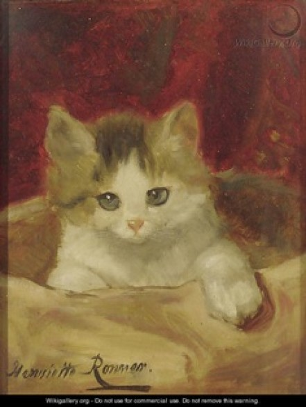 Kitten on a PInk Cushion Henriette Ronner-Knip