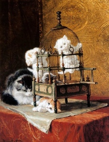 Kittens on a Birdcage Henriette Ronner-Knip Private Collection