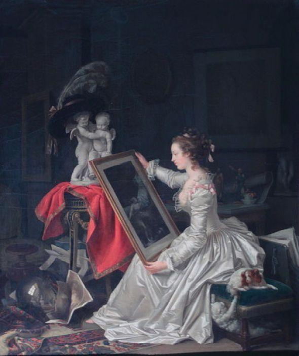 L'Elève Intéressante Marguerite Gérard Oil on Canvas Private Collection