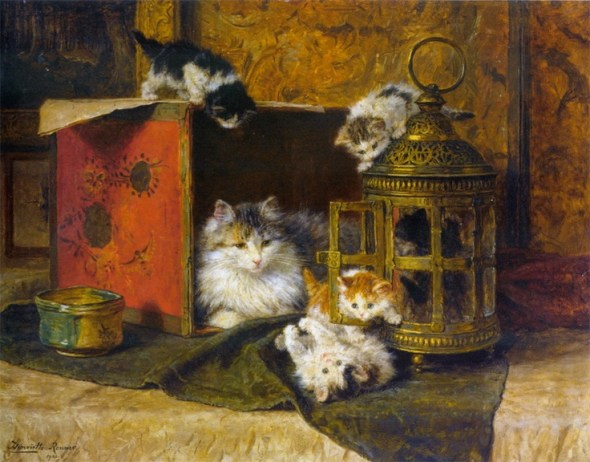 Mother and Kittens Playing Henriette Ronner-Knip Private Collection