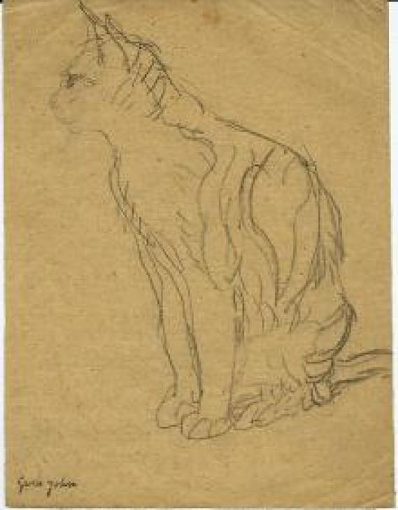 Seated Tortoiseshell Cat Facing Left Gwen John Pencil on Paper 1904-08 Private Collection