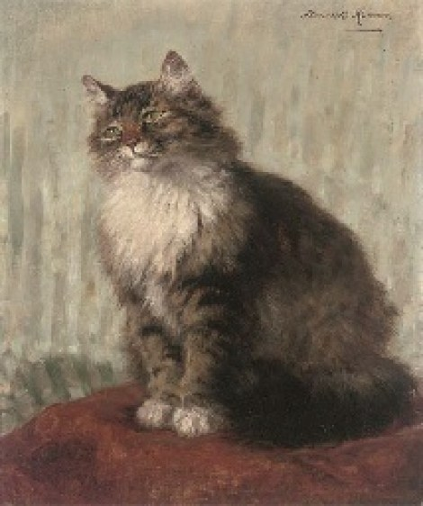 Seeking Attention Henriette Ronner-Knip Oil on Canvas Private Collection