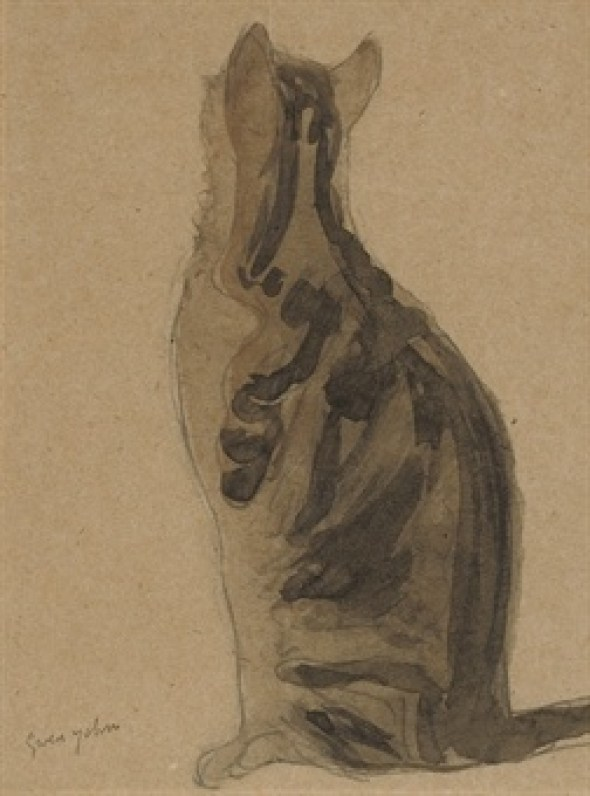 Study of a Tortoiseshell Cat Gwen John Pencil and Watercolor
