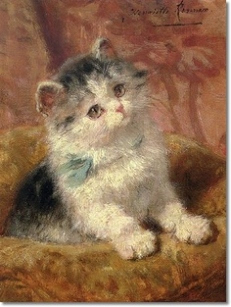 The Blue Bow Kitten Henriette Ronner-Knip Private Collection