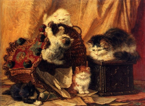 The Turned Over Wastepaper Basket Henriette Ronner-Knip Oil on Panel Private Collection