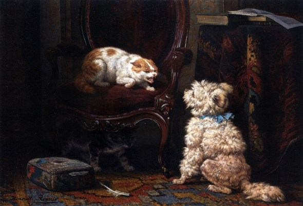 The Uninvited Guest Henriette Ronner-Knip Oil on Canvas Private Collection