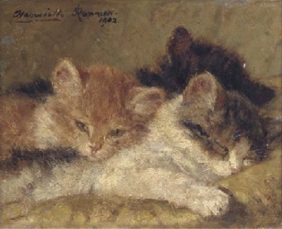 The Sleeping Kittens Henriette Ronner-Knip Oil on Panel 1902 Private Collection