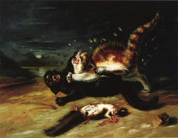 Two Cats Fighting John James Audubon 1826-cats in art