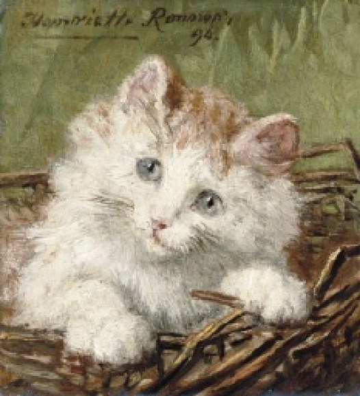 White Kitten in a Basket Henriette Ronner-Knip Oil on panel 1894 Private Collection