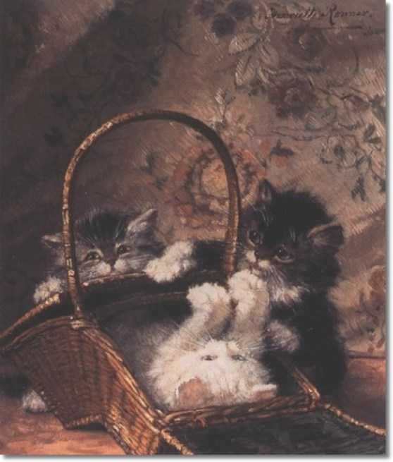 A Basket of Fun with Kittens Henriette Ronner-Knip Private Collection