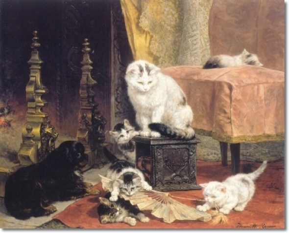 Under Watchful Eyes Henriette Ronner Knip Private Collection