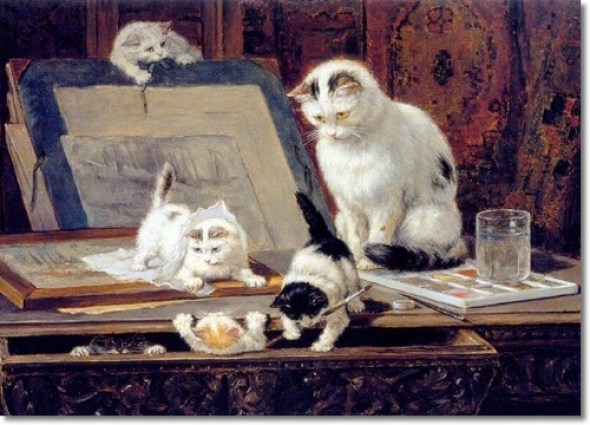 The Painting Lesson with Cat and Kittens Henriette Ronner-Knip Private Collection