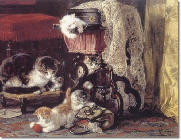 Kittens in Sewing Basket Henriette Ronner-Knip Private Collection