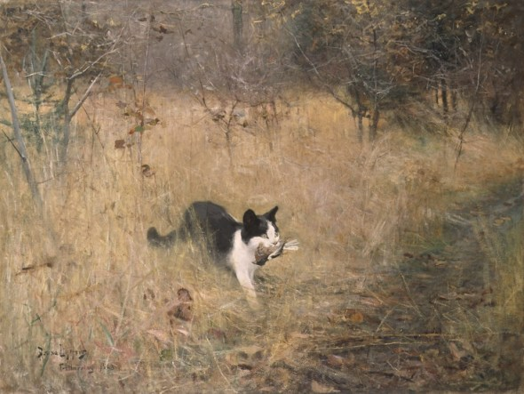 Cat Hunting Bruno Liljefors 1883 cat paintings