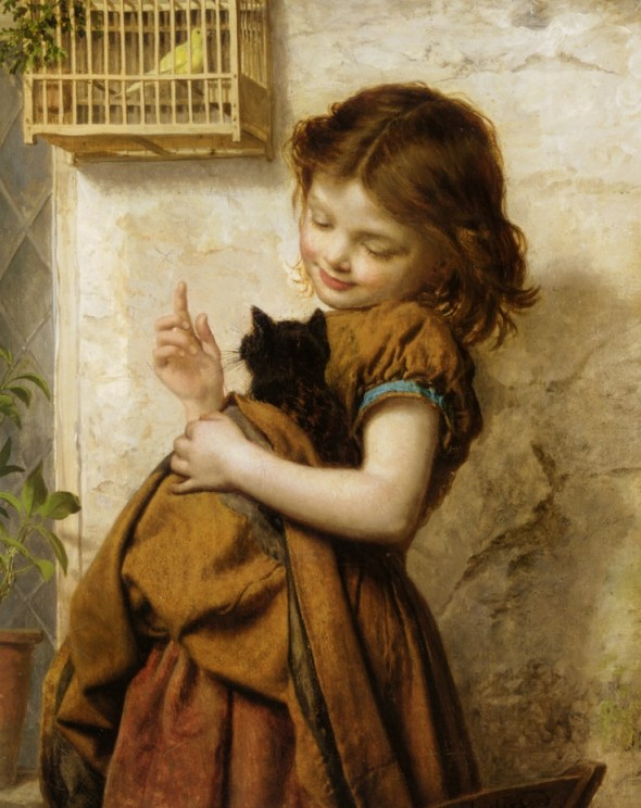Her Favorite Pet Sophie Gengembre Anderson Private Collection-cats in art