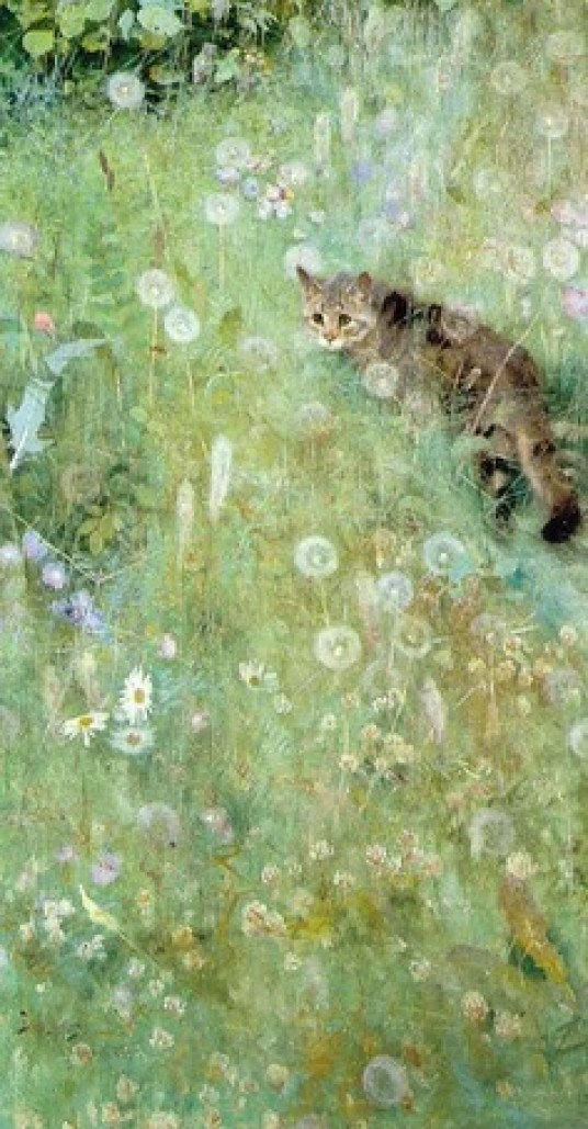 Cat in the Grass Bruno Andreas Liljefors Private Collection