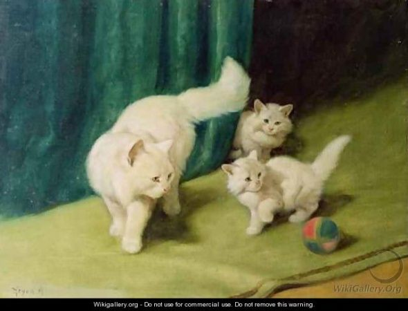 Mother and Kittens Playing with a Ball Private Collection